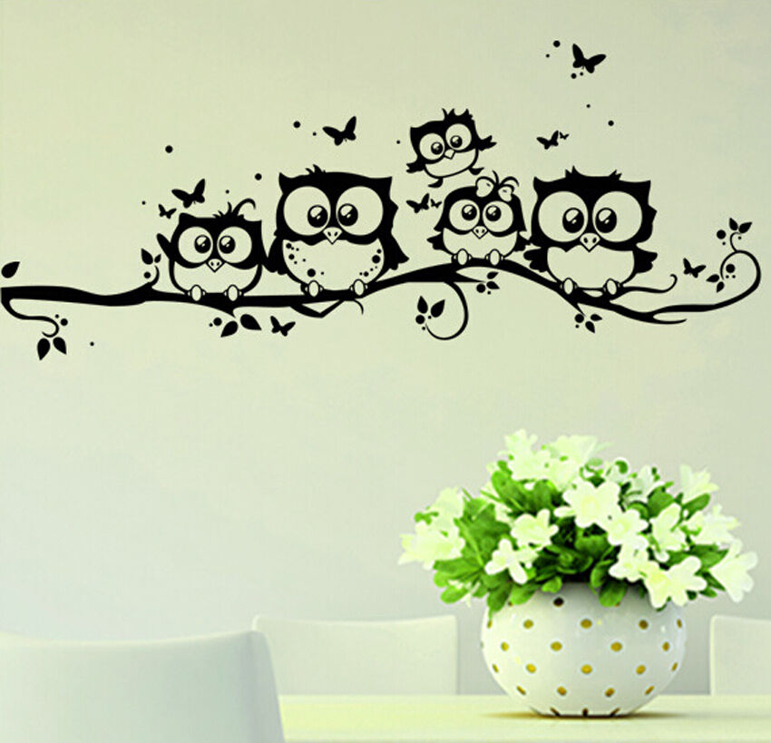 home decor removable art vinyl decal owl cartoon wall. Black Bedroom Furniture Sets. Home Design Ideas