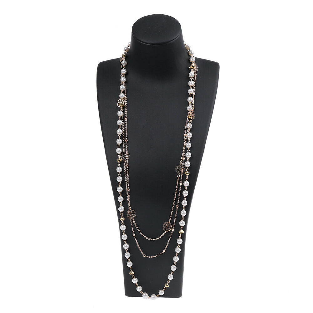 Fashion Women Multilayer Long Pearl Necklace Pendant