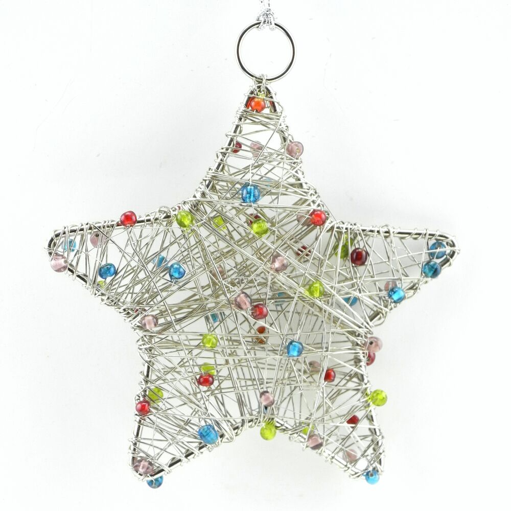 Beaded hanging silver stars christmas ornaments wall for Outdoor hanging ornaments