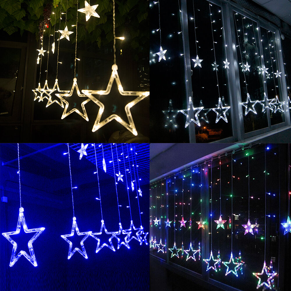 led sternen lichterkette vorhang fenster weihnachten beleuchtung warmwei bunt ebay. Black Bedroom Furniture Sets. Home Design Ideas