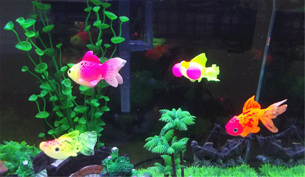 Silicone luminous simulation goldfish aquarium tank for Aquarium decoration for goldfish