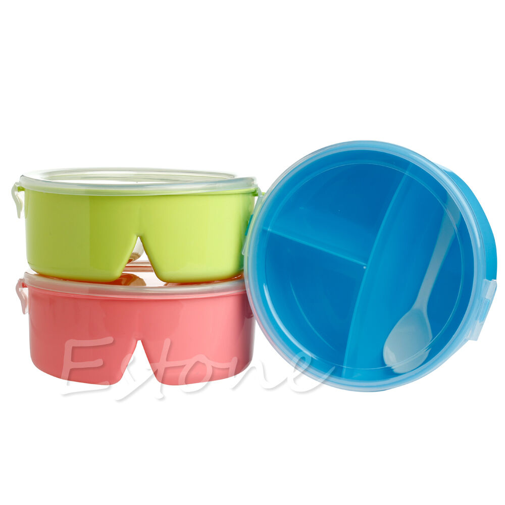 round portable microwave lunch box picnic bento food container storage spoon hot ebay. Black Bedroom Furniture Sets. Home Design Ideas