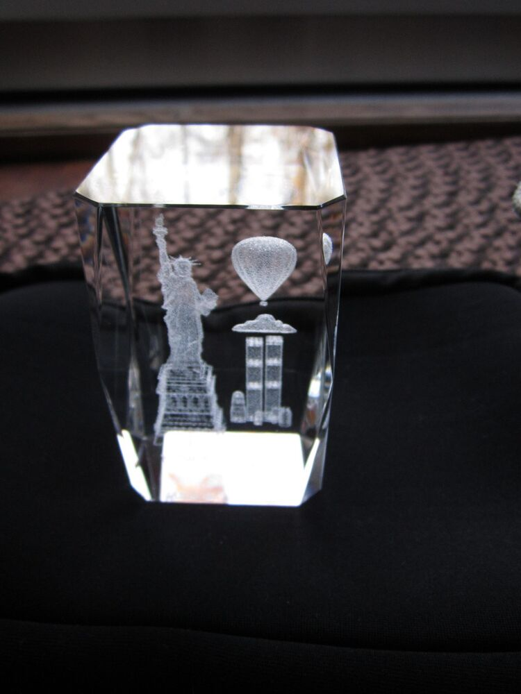 3d Laser Etched Lead Crystal Glass Cube Paperweight New