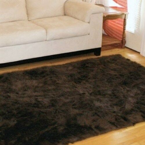 DARK BROWN Faux FUR Area Rug 5' X 7' Washable Non-slip