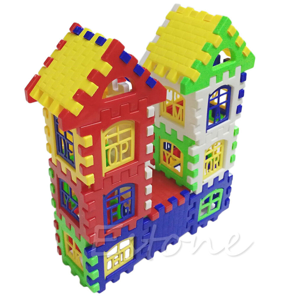Building Construction Toys : Children kids bricks house building learning blocks