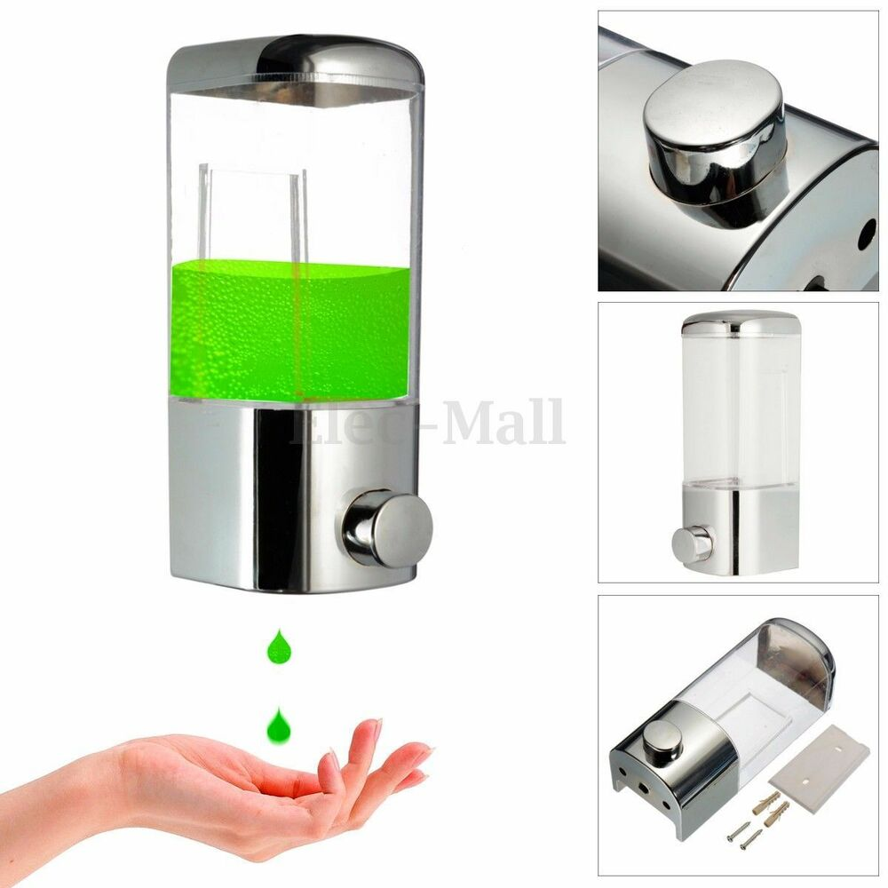 500ml chrome wall mount shower shampoo liquid soap lotion dispenser bathroom ebay - Wall mounted shampoo and conditioner dispenser ...