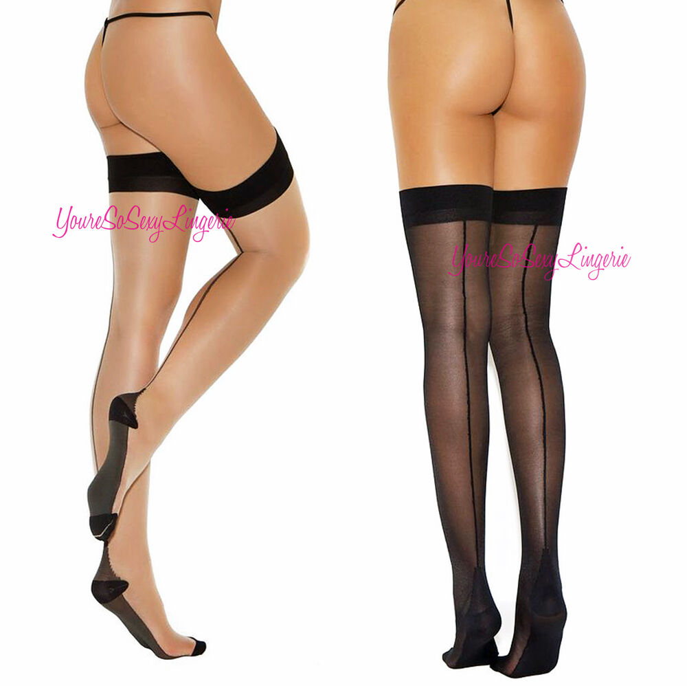37e952138f641 Details about CUBAN HEEL STOCKINGS Black Backseam Thigh High Solid Top For  Garters SPANDEX OS