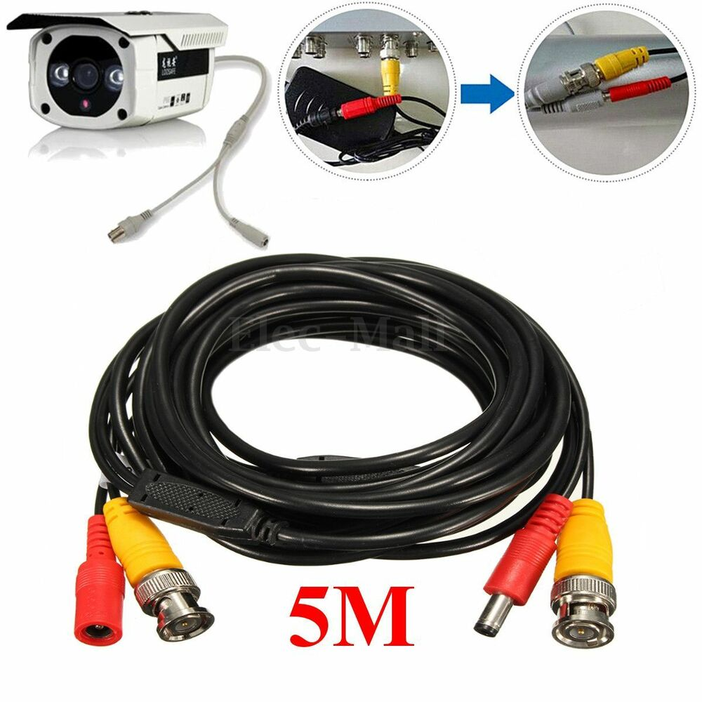 5m 2 in 1 audio video power cable ccd security camera bnc. Black Bedroom Furniture Sets. Home Design Ideas