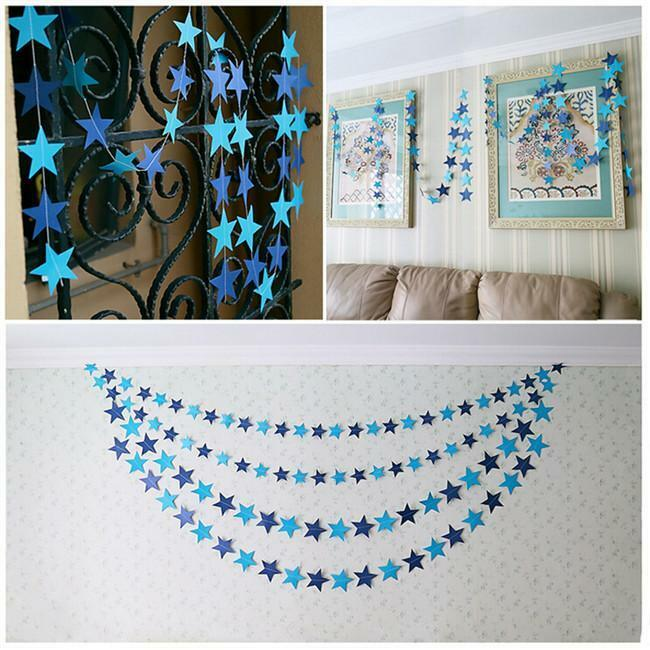 Chic star paper garland wedding party room decorations for Room decoration products