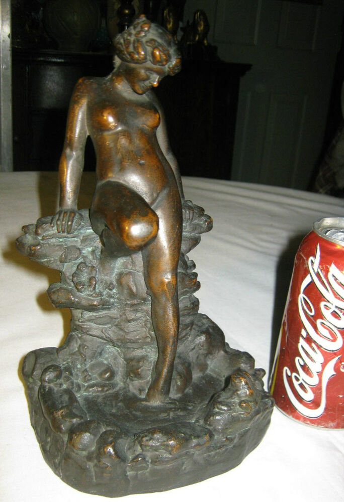 Antique Kbw Lg Nude Art Deco Lady In Pond W Frog Art