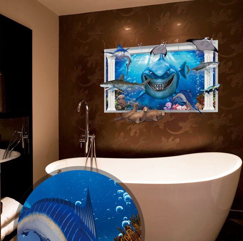 Ocean Decor For Bathroom: Ocean Shark Sea Lion 3D WINDOW Wall Decal Sticker Vinyl