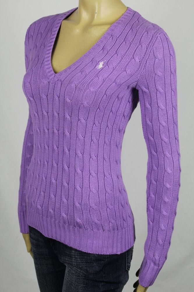 Ralph Lauren Purple Cable Knit V Neck Sweater White Pony