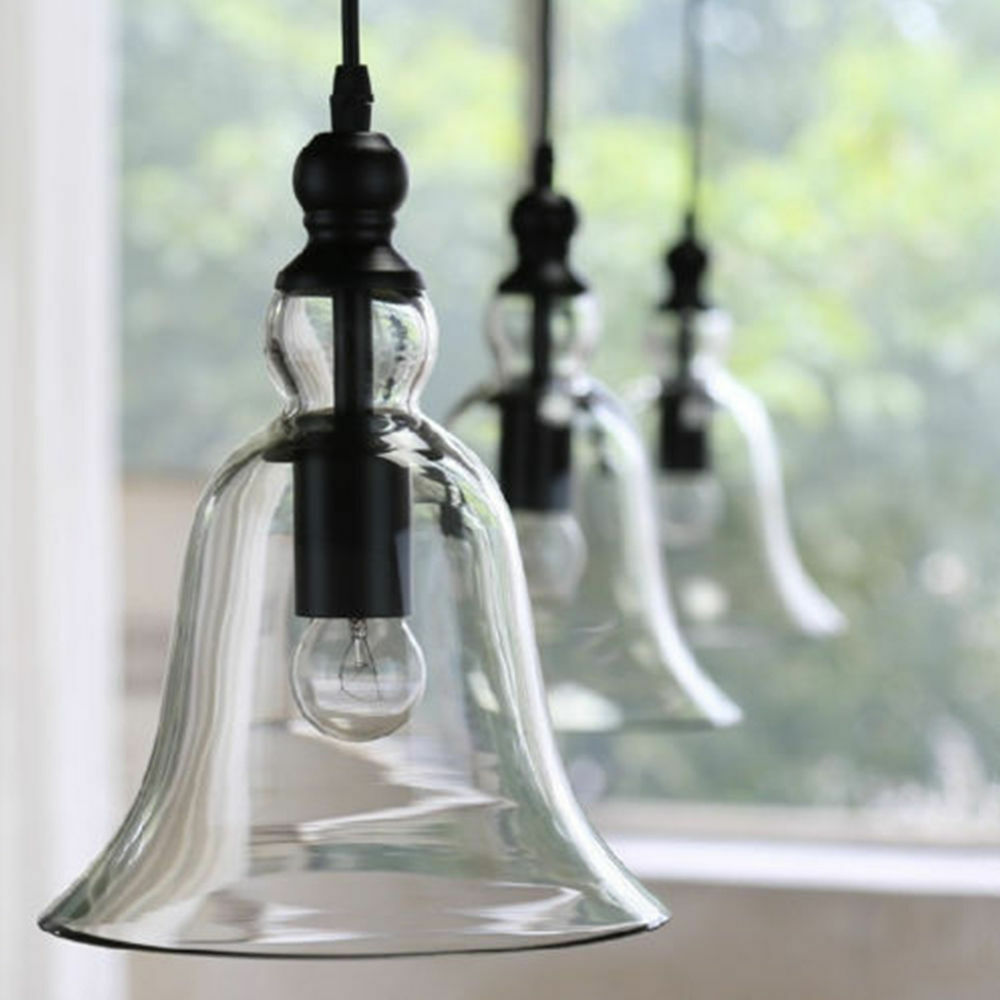 Modern Vintage Pendant Lamp Light Ceiling Bell Clear Glass
