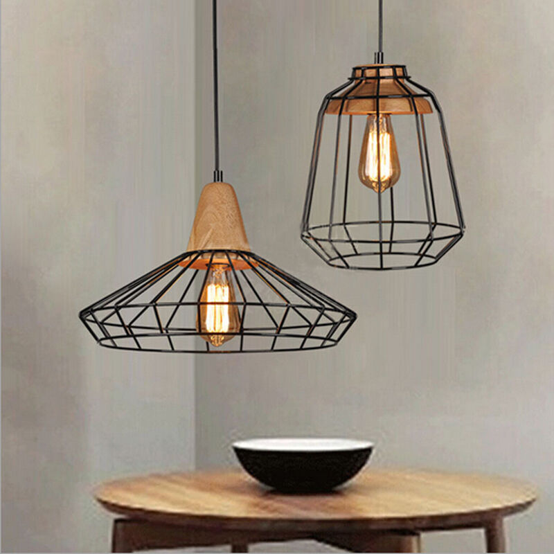 Vintage industrial diy metal ceiling lamp light pendant for Ceiling lamp wood