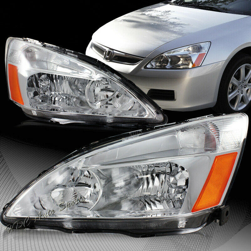 For Honda Accord DX LX EX Chrome Housing Clear Len W/Amber