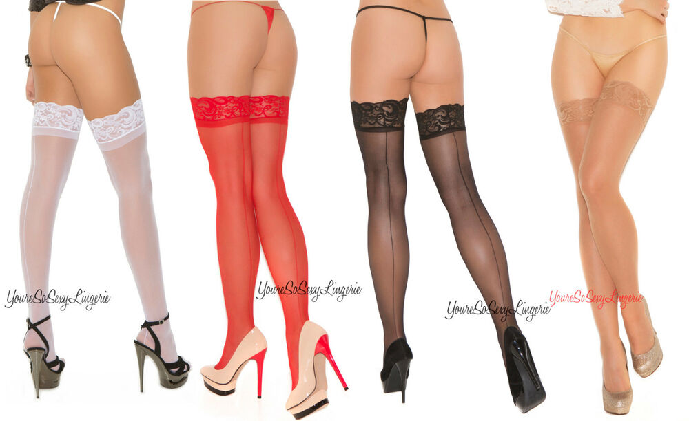 019fcef69ef Details about Plus Size Sheer BACK SEAM STOCKINGS Lace top NYLON for use  with Garters QUEEN