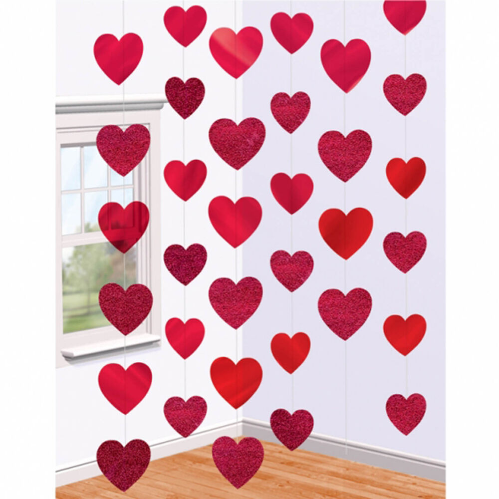 6 valentine 39 s day red foil glitter hearts party hanging for Decoration valentine