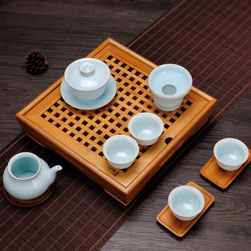 Square Bamboo Gongfu Tea Table Serving Tray Water Basin