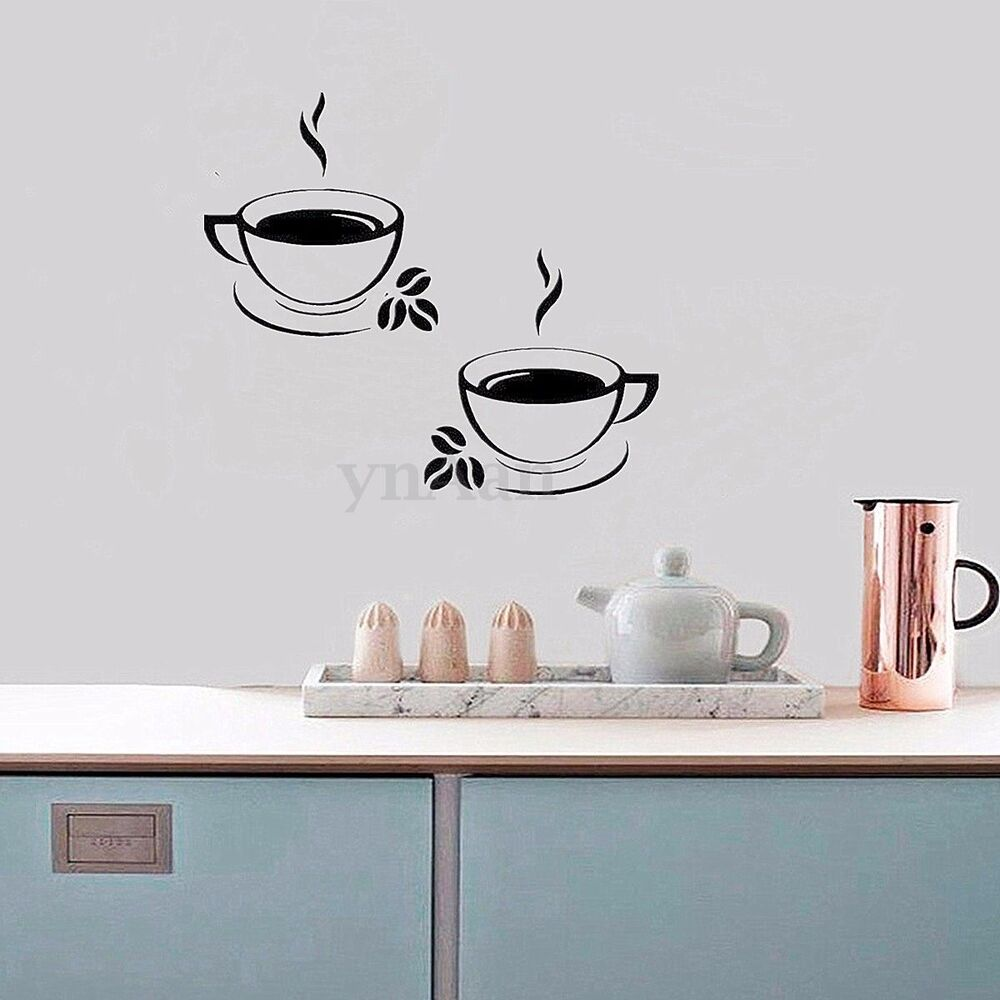 Coffee Cups Kitchen Pantry Wall Stickers Decal Restaurant