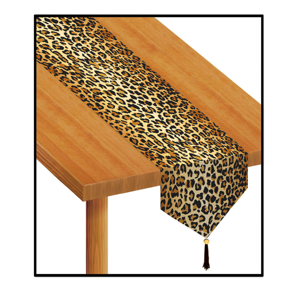 Brown leopard jungle animal print table runner birthday for Animal print decoration party