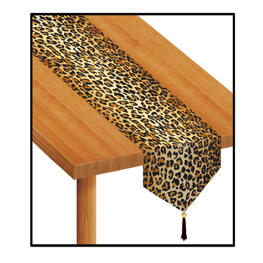 Brown leopard jungle animal print table runner birthday party decoration ebay - Deco table jungle ...