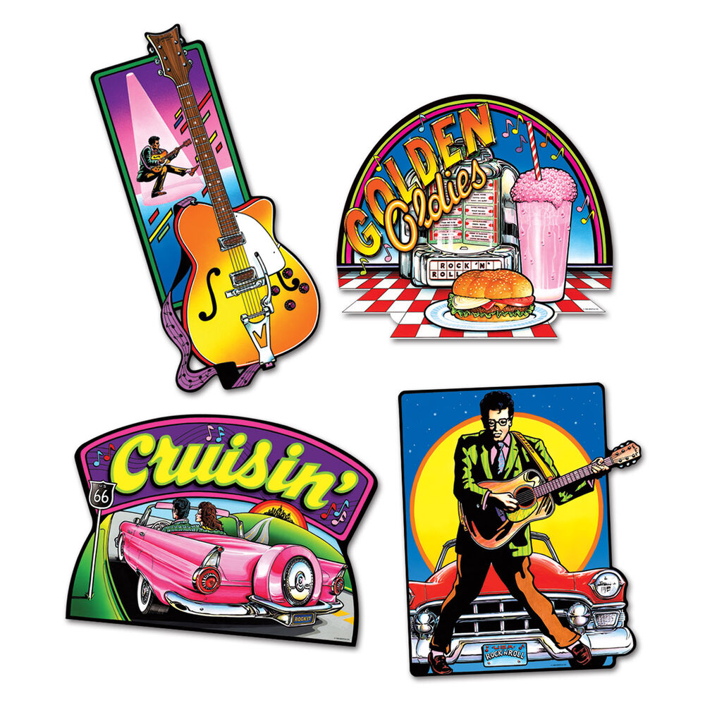 4 pc fabulous fifties 50 39 s rock n roll cutouts birthday. Black Bedroom Furniture Sets. Home Design Ideas