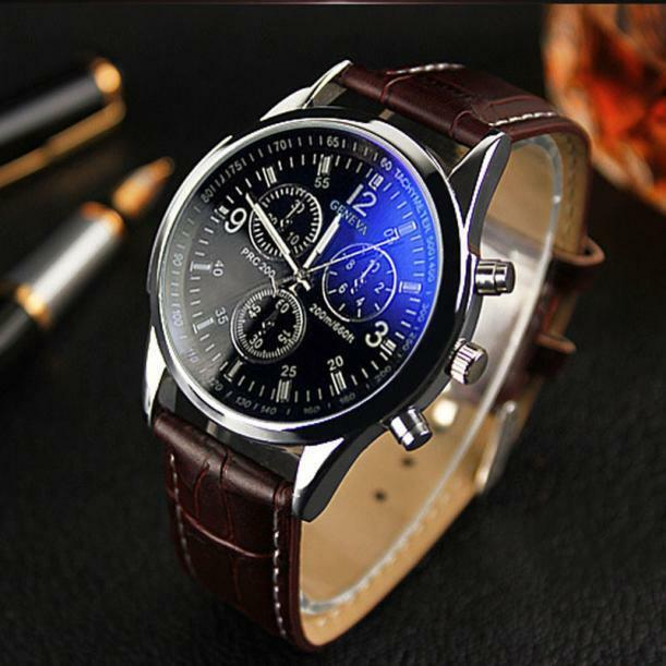 Luxury men 39 s date stainless steel quartz leather strap band wrist watch watches ebay for Leather watch for men