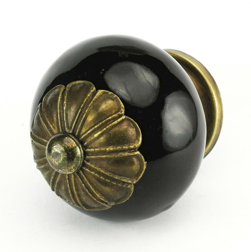 4 Black Drawer Knobs Kitchen Ceramic Cabinet Pulls Round