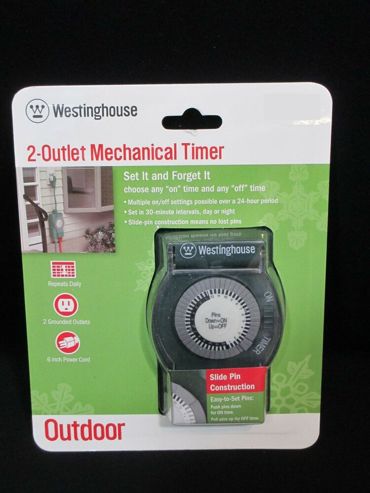 Westinghouse 2 Outlet Mechanical Timer Outdoor Christmas Lights Decor EBay