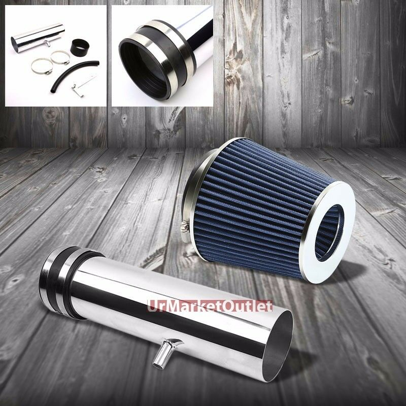 Shortram Air Intake Polish Pipe+Blue Cone Filter For Chevy
