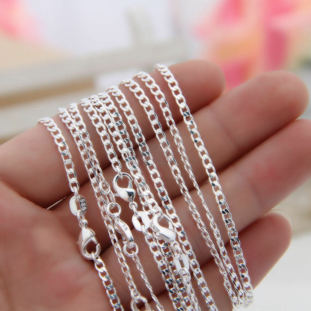 10pcs 925 Sterling Silver Curb Chains 2MM Women Necklace ...