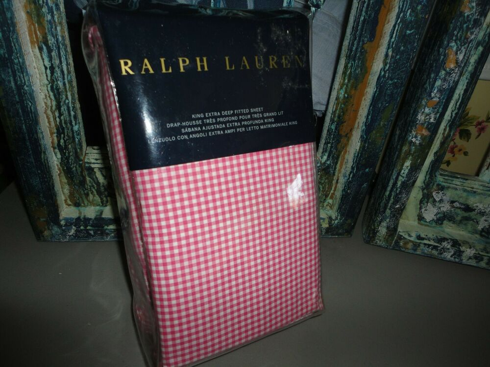 Ralph Lauren Pink Classic Gingham King Or Full Fitted
