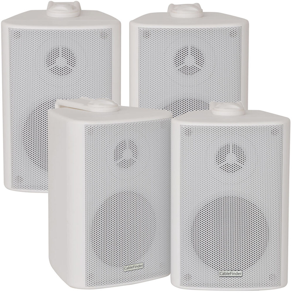 2x Pair 2 Way Compact Stereo Speakers 3 60w 8ohm White
