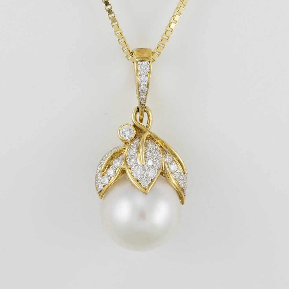 18k Yellow Gold 13mm South Sea Pearl Pendant With Diamond