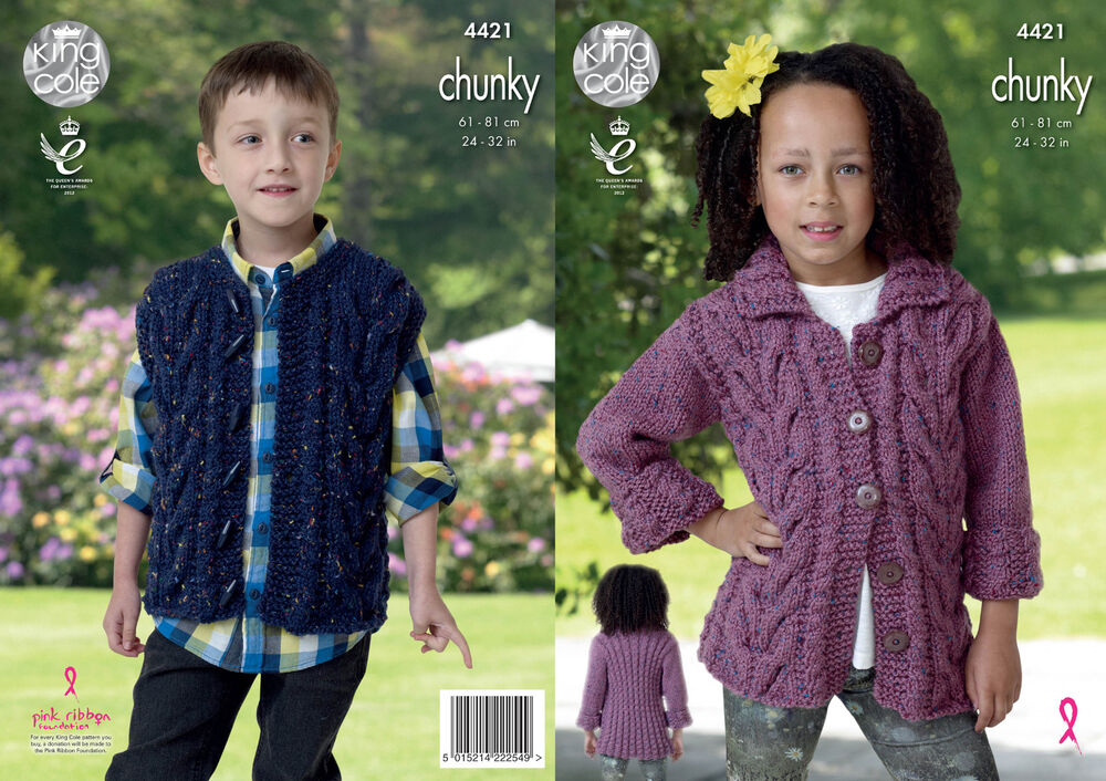 Easy Gilet Knitting Pattern : King Cole Kids Knitting Pattern Cable Detail Jacket & Gilet Chunky Tweed ...