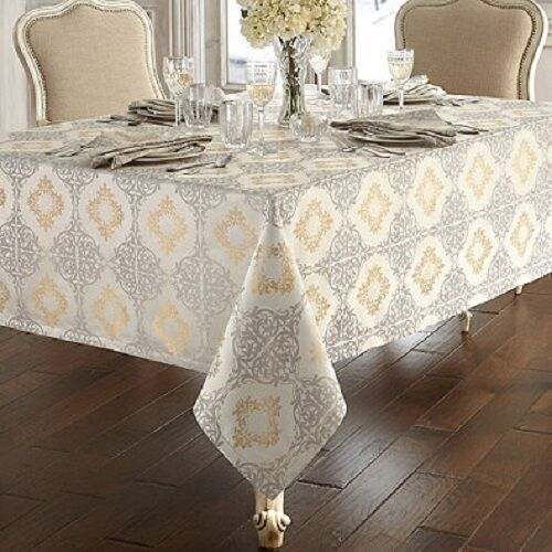 New Waterford Valentina Tablecloth Silver Gold 52 Quot X70 Quot 84