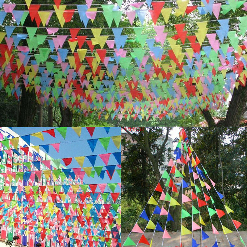 M Party Rainbow Bunting Large Kids Birthday Outdoor Flags Banner