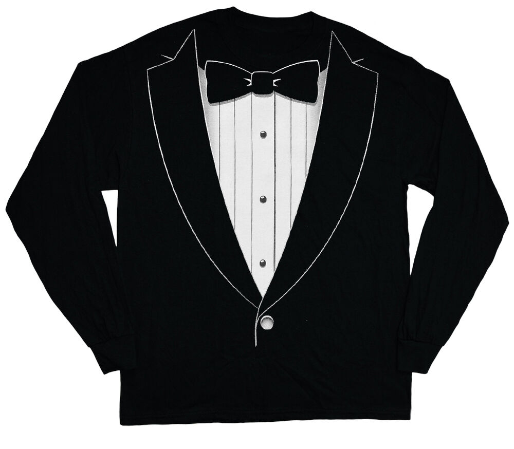 Long sleeve t shirt for men tuxedo tee shirt tux wedding for Black tuxedo shirt for men