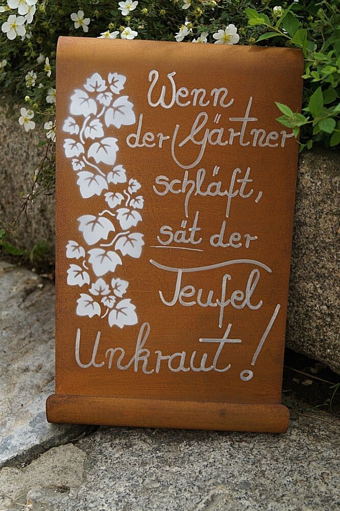 edelrost tafel g rtner gewellt spruch garten metall tafel rost schild text deko ebay. Black Bedroom Furniture Sets. Home Design Ideas