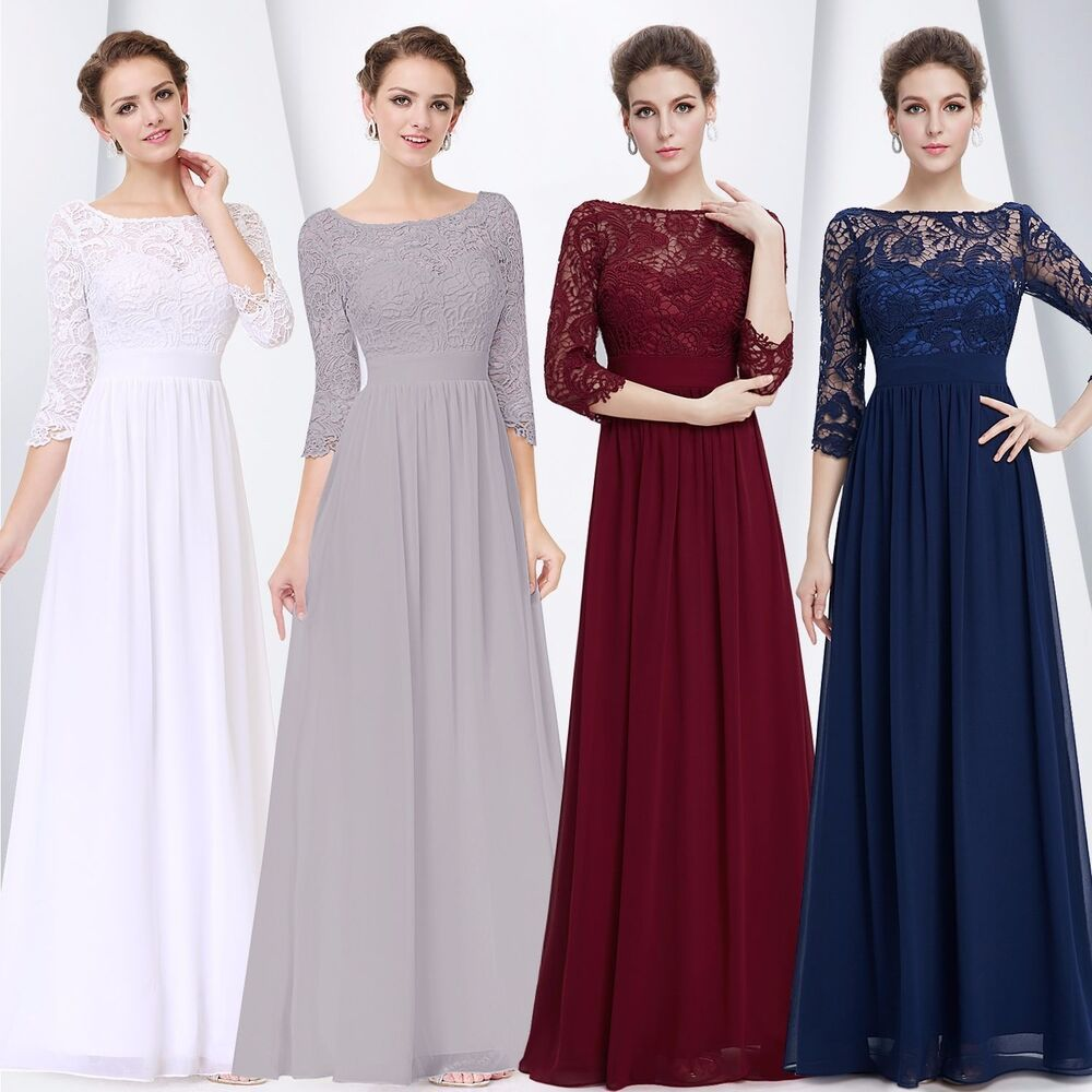 US Women\'s Bridesmaid Gowns Lace Long Evening Formal Party Prom ...