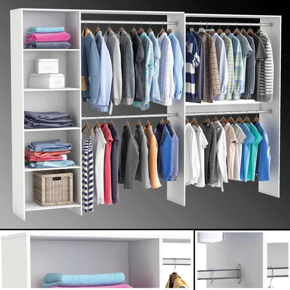 xxl kleiderschrank 5312 offen begehbar regal schrank wei garderobe studenten ebay. Black Bedroom Furniture Sets. Home Design Ideas