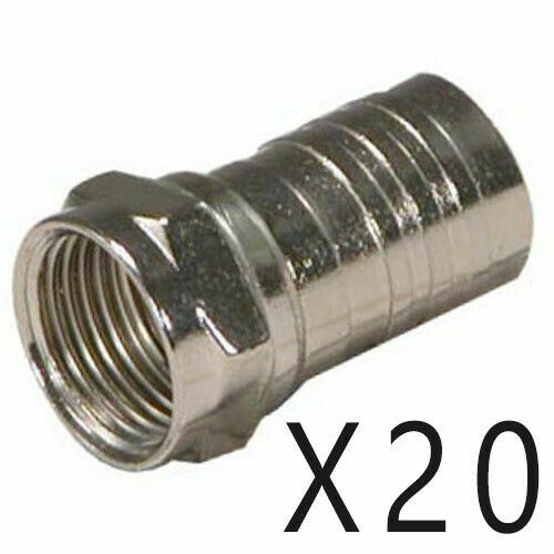 20 Pack Lot F Type One Piece Crimp On Connector Male