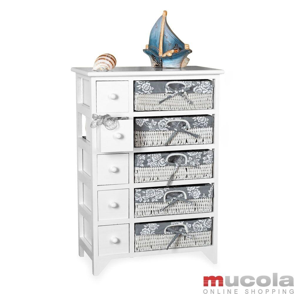 kommode landhaus sideboard badschrank regal wei 5 k rben. Black Bedroom Furniture Sets. Home Design Ideas