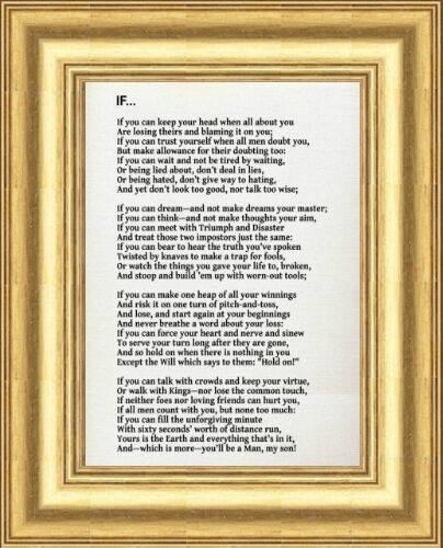 If By Rudyard Kipling Framed Printed Poem Gold Frame Others Frames
