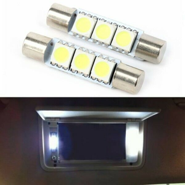2pcs xenon white 29mm 3 smd 6641 fuse led car vehicle visor vanity mirror lig. Black Bedroom Furniture Sets. Home Design Ideas