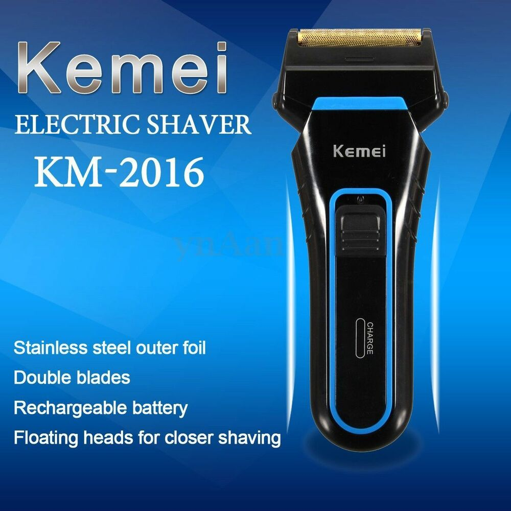 kemei men 39 s cordless electric dual foil shaver rechargeable beard razor trimmer ebay. Black Bedroom Furniture Sets. Home Design Ideas