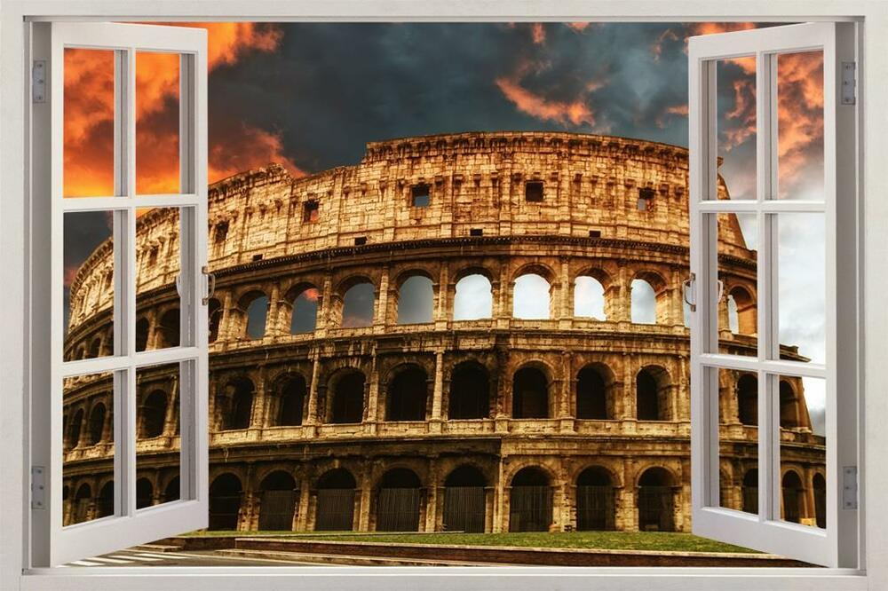 Colosseum rome 3d window view decal graphic wall sticker for Wall stickers roma