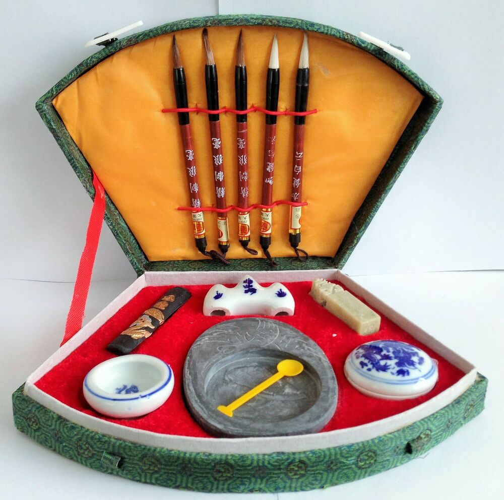 Beautiful Chinese Calligraphy Set Inc Brushes Ink Pots