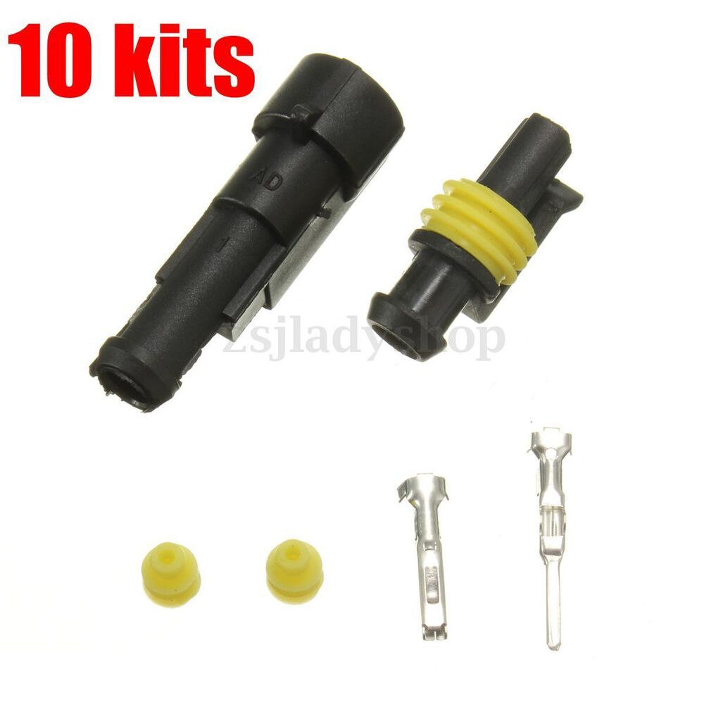 10 pcs 1 pin way car truck sealed waterproof electrical wire auto connector plug ebay. Black Bedroom Furniture Sets. Home Design Ideas
