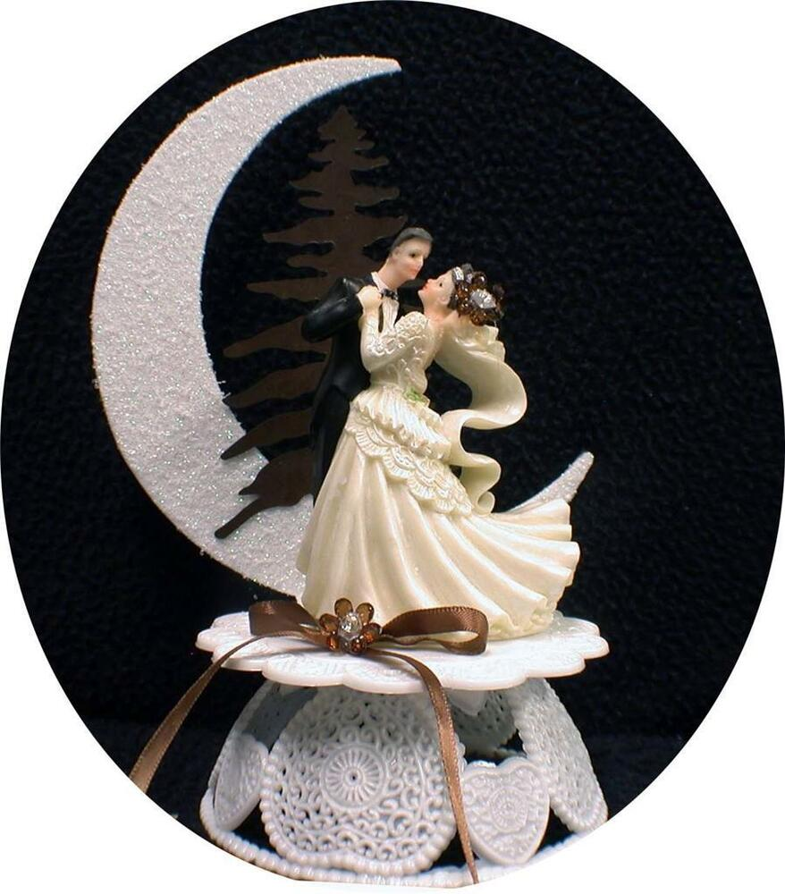 country wedding cake topper chic rustic mocha coffee brown wedding cake topper 13003